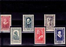 France 1943 - Série entière Timbres. neufs ** Personnages célèbres YT 587 à 592