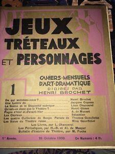 JEUX, TRÉTEAUX Et PERSONNAGES No 1 Première Année. THÉÂTRE. 1930.