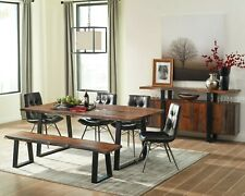 RUSTIC SOLID WOOD DINING TABLE BENCH W/ GRAY LEATHERETTE CHAIRS FURNITURE SET