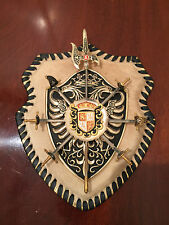 Vintage Medieval Style CALF-FUR SHIELD CREST SWORDS COAT-Of-ARMS Wall-Hanging