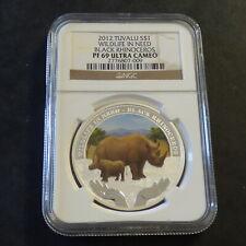 "Tuvalu 1$ ""Wildlife in Need"" 2012 Black Rhino PF69 Ultra Cameo silver 99.9% 1 oz"