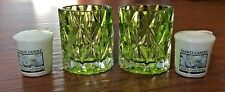 YANKEE CANDLE LEAFY LIME GREEN FRACTAL 2 VOTIVE HOLDER SET WITH GARDENIA CANDLES