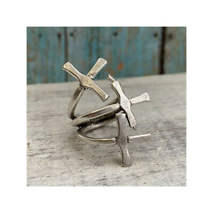 Boho  Silver plated Adjustable Cross Ring