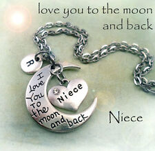 Niece I Love You to the Moon and Back Necklace w-Letter Charm * Niece Gift
