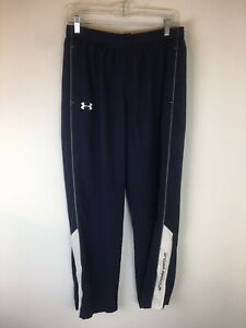 Under Armour Athletic Pants Men Large Loose Polyester Blue White