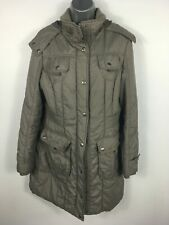 WOMENS NEXT TAUPE ZIP UP HOODED LIGHTLY PADDED FITTED WINTER JACKET COAT UK 12