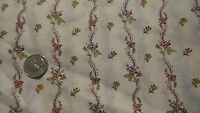 """Vintage Cotton Fabric CURVY PURPLE & GOLD FLORAL STRIPES ON WHITE 1 Yd/44"""" Wide"""