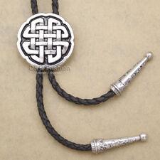 Western Celtic Trinity Cross Knot faux-Leather Rodeo Wedding Necktie