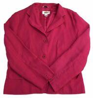 Talbots Blazer Pink IRISH LINEN Button Front Lined Jacket Career Women's Size 10