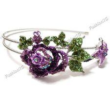 New purple rose flower leaf woman's headband hair accessory crystal rhinestones