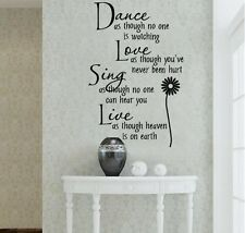Dance Love Sing Live Quote Decal Removable Art Wall Stickers Home Decor Decal