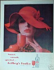 1962 Gilbey's Vodka Womens Red Hat Photo Art Print Ad