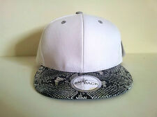 SNAKE SKIN PLAIN (WHITE/GREY) COTTON SNAPBACK CAP