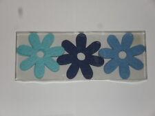 9 fleurs en feutrine à coudre ou à coller ( 10 cm de diamètre) (3 tons de bleu)