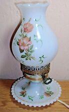 Vintage Hobnail White Milk Glass Hurricane Table Bedside Lamp Wild Poppy Flowers