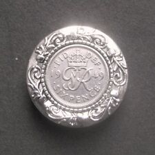 Brooch wedding anniversary Royal present 1949 70th birthday lucky sixpence Cameo