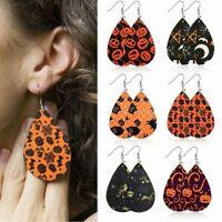 Chic Halloween Skull Pumpkin Earrings Boho Teardrop Leather Dangle Drop Ear Hook