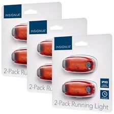 6-PACK NEW Insignia Night Safety Running Lights RED Clip-on IPX5 Bike Bicycle