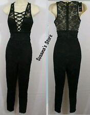 NWT BEBE LYLA LACE-UP FRONT JUMPSUIT SIZE XS Upscale-occasion, gorgeous! $102