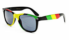 RASTA PRINT SQUARE SUNGLASSES JAMAICAN RED YELLOW GREEN STRIPED REGGAE HIP HOP