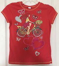 Beautees Girls Top Tee T-Shirt Tween Orange with Bicycle Bike Design Size Large