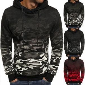 Men's Warm Winter Hoodie Hooded Sweatshirt Outwear Camouflage Jacket Coat