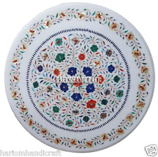 """24"""" Marble White Center Coffee Table Top Lapis Inlay Floral Marquetry Arts H2880"""