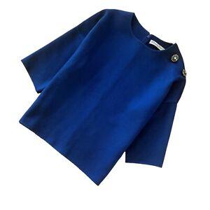 CHRISTINE DIOR Ladies PURE Cashmere Blue Diamante Oversized Jumper Top Size S 36