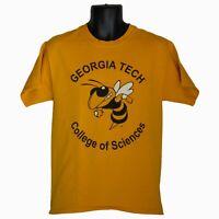 Mens Hanes Georgia Tech College of Sciences Yellow Graphic T-Shirt Size M Medium