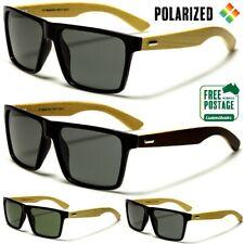 Polarised Sunglasses - Square Retro Frame - Wooden Bamboo Arms - Polarized Lens