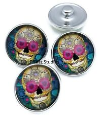 Sugar Skull Snap Charm Button Day of the Dead Popper Halloween 18mm Snaps 5-8