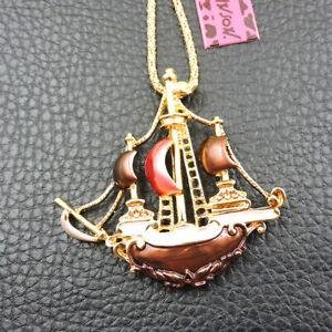 Fashion Betsey Johnson Enamel Delicate Dream Sailboat Pendant Chain Necklace