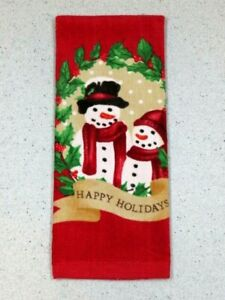 "Kitchen Hand Towel ""Happy Holiday's"" Winter Snowmen Dish Towel 26"" X 16'"