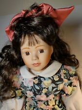 """Beautiful 16"""" Vintage Girl Doll Bisque/Cloth  W Wooden Stand collectible"""