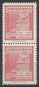 Bolivia 1945 Sc# C100 Airmail Map of Natl Plane vert pair MNH