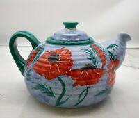 Vintage Studio Pottery Pitcher Handpainted Ireland Blue and Green with Red Poppy