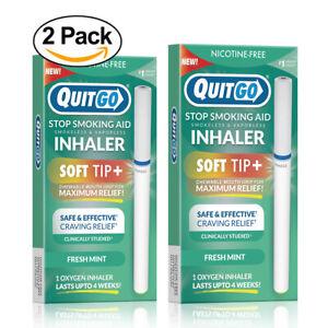 QuitGo Mint Flavored Smoking Cessation Smoke-Free Inhaler with Soft Tip 2 Pack