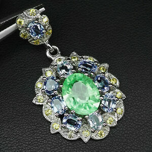 Emerald Green Sapphire Oval 10 Stone 10.20 ct. 925 Sterling Silver Pendant Gift
