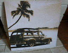 New listing Vintage Surfboard & Woody Beach Palm Tree Surfing Surfer Home Decor Photo Sign