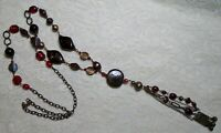 VINTAGE LONG CHUNKY BROWN & RED GLASS BEADED CHAIN TASSEL BOHO NECKLACE 38""