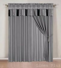 Chenille Gray Black  New Window Curtain Panels Liner Tassel