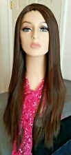 Long brown wig with auburn highlights, invisible lace part, baby hair, 24 in.