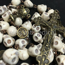 Catholic Vintage XL 10MM howlite skull beads Rosary Bead Cross crucifix Necklace