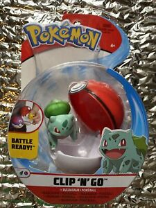 NIB Pokemon Clip 'n' Go Bulbasaur and Poke Ball Action Figure Toy