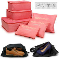 6 PCS Storage Bag, 3 Travel Cubes + 3 Pouches Clothes Luggage Packing Organizers