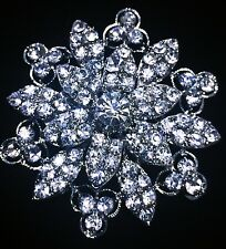USA BROOCH PIN Rhinestone Crystal Gemstone Bridal Wedding Queen Cake Silver 1
