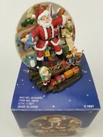 """A Christmas Remembered"" 1997 Hand Painted Handcrafted Santa Plate & Stand Decor"