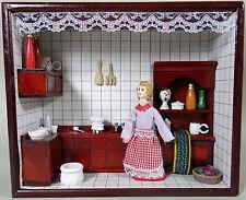 Vintage Diorama Shadow Box Wood Case Wall Decor or Shelf Woman Kitchen Folk Art