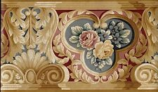 Architectural Roses in Blues, Burgundy and Tans WALLPAPER BORDER