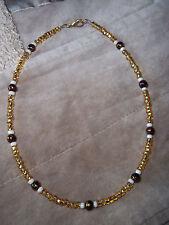 Handmade 15 inch GOLD, Cream and BROWN Glass Bead CHOKER D-73